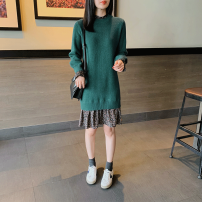 Dress Spring 2021 Picture color S,M,L,XL,2XL longuette singleton  Long sleeves commute Crew neck Loose waist Solid color Socket routine 25-29 years old Hyyzqyp / Han Yiye Zhiqiu clothing shop Splicing