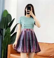 Dress Summer of 2019 Green, orange XS,S,M Middle-skirt singleton  Short sleeve Sweet Crew neck lattice Socket other other Others A6917 51% (inclusive) - 70% (inclusive) other