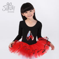 Children's performance clothes Black with red (open crotch) female 110, 120, 130, 140, 150 Silkily Ballet Pure cotton (100% content) 2, 3, 4, 5, 6, 7, 8, 9, 10, 11, 12, 13, 14 years old