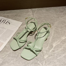 Sandals 35,36,37,38,39 White, light green, black PU Other / other Barefoot Thick heel High heel (5-8cm) Summer 2021 Flat buckle Korean version Solid color Adhesive shoes Youth (18-40 years old) rubber daily Hollow out, thick heel Hollow PU Microfiber skin Roman shoes Shaving