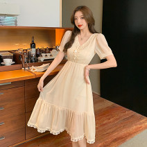 Dress Summer 2021 Short sleeve singleton  V-neck Solid color High waist zipper 18-24 years old 51% (inclusive) - 70% (inclusive) Type A 6450 spot Other / other S,M,L,XL