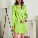 Dress Spring 2021 light green S,M,L Short skirt singleton  Long sleeves commute tailored collar Solid color double-breasted routine 25-29 years old Button G21020303 polyester fiber