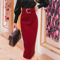 skirt Spring 2021 S,M,L Red, black Mid length dress commute High waist 31% (inclusive) - 50% (inclusive) Queen's family Korean version