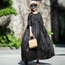 Dress Summer 2020 M, L longuette other elbow sleeve commute Crew neck Loose waist Solid color Socket other Sleeve Others 40-49 years old Type H Xiao Su's travel diary Retro More than 95% other silk