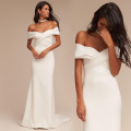 Dress / evening wear milky white Simplicity longuette middle-waisted Autumn of 2018 fish tail One shoulder soft silk fabric in satin weave 26-35 years old