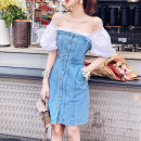 Dress Summer of 2019 White and blue XS,S,M,L Short skirt singleton  Short sleeve commute One word collar High waist Solid color Single breasted A-line skirt puff sleeve Others 25-29 years old Type A Korean version Button, button 51% (inclusive) - 70% (inclusive) Denim cotton