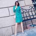 Dress Autumn of 2019 S,M,L,XL Mid length dress singleton  Long sleeves commute V-neck middle-waisted Solid color double-breasted routine Others 25-29 years old Type H Other / other Ol style Lace up, button Q1818 More than 95% polyester fiber