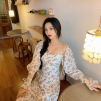 Dress Spring 2021 Picture color S, M longuette singleton  Long sleeves commute square neck Elastic waist Decor Socket A-line skirt pagoda sleeve Others 18-24 years old Type X Three pears Korean version DL10009 More than 95% brocade other
