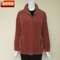 Middle aged and old women's wear Spring of 2018 Red, camel, rose L suggests 90-109 kg, XL 110-122 kg, 2XL 123-135 kg, 3XL 136-148 kg, 4XL 149-160 kg leisure time Jacket / jacket easy singleton  Solid color 40-49 years old Cardigan thin Polo collar Medium length (length 50-70cm) other YJL753 Button