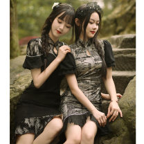 cheongsam Spring 2021 S (collection and purchase first delivery), m (collection and purchase first delivery), l (collection and purchase first delivery), XL (collection and purchase first delivery) Tiny Times Short sleeve Short cheongsam literature No slits daily Decor 18-25 years old Piping YC-2349