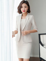 Professional dress suit S,M,L,XL,XXL,XXXL,4XL,5XL Autumn of 2019 three quarter sleeve YQ-8602 Jacket, other styles Suit skirt 25-35 years old Other / other 81% (inclusive) - 90% (inclusive) polyester fiber