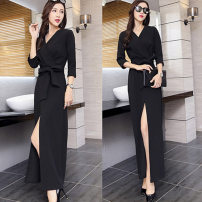 Dress Spring 2020 Long sleeve black, Quarter Sleeve Black XS,S,M,L,XL,2XL,3XL longuette singleton  Long sleeves commute V-neck High waist Solid color Socket Pencil skirt routine Others 25-29 years old Type X Retro Bows, folds, bandages LW8888 71% (inclusive) - 80% (inclusive) other other