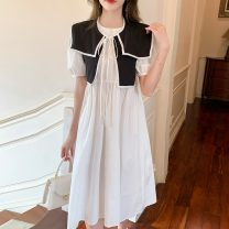 Dress Summer 2021 White + shawl S,M,L,XL longuette singleton  Short sleeve commute Admiral Loose waist Socket A-line skirt puff sleeve Others 18-24 years old Type A Korean version 51% (inclusive) - 70% (inclusive) other other