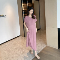Dress AROOM Pink, black, blue, apricot Average size Korean version Short sleeve have more cash than can be accounted for summer Crew neck Solid color knitting N50-5