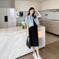 suit AROOM Blue coat, black suspender skirt M. L, XL, XXL, one size fits all Korean version Short sleeve + skirt summer routine Solid color N50-38 Denim