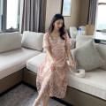 Dress AROOM Pink, off white M,L,XL Korean version Short sleeve Medium length summer square neck Solid color Netting N50-24