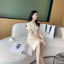 Dress AROOM Apricot, black Average size Korean version Short sleeve Medium length summer V-neck Solid color knitting N51-26