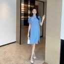Dress AROOM Pink, blue, black M,L,XL,XXL Korean version Short sleeve Medium length summer stand collar Solid color Flannel N50-1