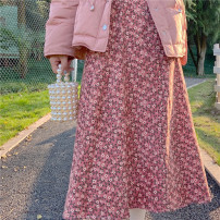 skirt Winter 2020 Average size Pink, green Mid length dress Sweet High waist A-line skirt Decor Type A 18-24 years old PS-2010272244 corduroy
