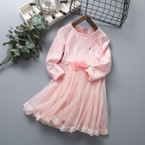 Dress Pink female Other / other 110cm,120cm,130cm,140cm,150cm Other 100% spring and autumn lady Long sleeves other Splicing style Class B 2, 3, 4, 5, 6, 7, 8, 9, 10, 11, 12 years old