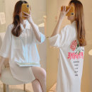 Pajama Top female Mz10 / 10 per week XXL130 L100 XL115 3XL M801 three quarter sleeve sexy youth Leisure home summer Thin money Small lapel letter double-breasted Iced silk More than 95% silk Triacetate fiber (triacetate fiber) 100% Winter 2020 200g and below
