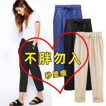 Casual pants Summer 2017 Ninth pants Haren pants High waist original Thin money 25-29 years old 96% and above Mz10 / 10 per week hemp pocket cotton Flax 100%