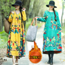 Dress Winter of 2018 Green with velvet yellow with velvet red without velvet green without velvet yellow without velvet M recommended below 115KG l115130 xl130145 xxl145160 longuette singleton  Long sleeves commute Crew neck Loose waist Decor Socket Big swing routine 18-24 years old Type A literature