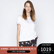 shirt CREAM 2,4,6,8,10,12 Spring of 2019 silk 91% (inclusive) - 95% (inclusive) Short sleeve Versatile Regular Crew neck routine Solid color 25-29 years old Straight cylinder Ports LA8B069KWT003