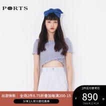 shirt BRU BLUE STRIPE,RED STRIPE 34,36,38,40 Summer of 2019 cotton 96% and above Short sleeve Versatile Regular One word collar stripe 25-29 years old Ports RN8B013HFC007