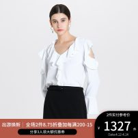 shirt CREAM 0,2,4,6,8,10 Spring 2020 polyester fiber 30% and below Long sleeves commute Regular V-neck pagoda sleeve Solid color 30-34 years old Self cultivation Ports Simplicity ALL8B019CWB008