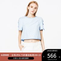 shirt CLOUD BLUE MIX,CREAM MIX 2,4,6,8,10,12 Spring of 2018 cotton 51% (inclusive) - 70% (inclusive) Short sleeve Versatile Regular Crew neck Socket other Solid color 25-29 years old Straight cylinder Ports bow