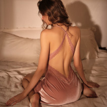 Nightdress Lass Lures M, L sexy camisole pajamas Short skirt summer V-neck nylon Hollowing out Velour fabric