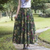 skirt Autumn 2020 One size fits all (skirt length 80 cm, one size fits all (skirt length 90 cm) As shown in the figure longuette Retro High waist A-line skirt Decor Type A 25-29 years old 2526 No.99 Dushen Chengpin Pocket, print