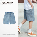 Jeans Youth fashion HEYBIG S,M,L,XL,2XL blue Micro bomb Shorts (up to knee) Other leisure summer teenagers middle-waisted Youthful vigor 2020 Straight foot zipper Rough edge