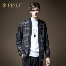 Jacket Pinli Fashion City black M170,L175,XL180,XXL185,XXXL190 routine standard Other leisure autumn Polyester fiber 95.4% polyurethane elastic fiber (spandex) 4.6% Long sleeves Wear out tide youth routine No buckle Cloth hem Loose cuff Assembly Bag digging with open cut thread