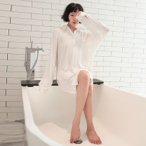 Nightdress Shengfen White, black Average size sexy Long sleeves Leisure home Middle-skirt spring Solid color youth Small lapel Polyester (polyester) Button decoration More than 95% Modal fabric 220g