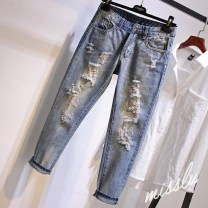 Jeans Autumn 2020 blue XS,S,M,L,XL,2XL,3XL,4XL Ninth pants High waist Haren pants routine 25-29 years old Make old, wear out, wash and whiten Coated denim light colour 96% and above