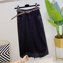 skirt Summer 2021 S,M,L black Mid length dress commute High waist High waist skirt Solid color Denim #NOHASHTAG Korean version