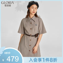 Dress Spring 2021 XS S M L XL Short skirt singleton  Short sleeve commute square neck middle-waisted lattice Single breasted other other 25-29 years old Type A Gloria / golia Retro Button 81% (inclusive) - 90% (inclusive) polyester fiber Same model in shopping mall (sold online and offline)