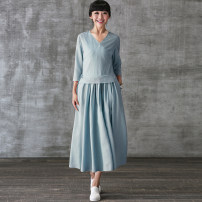 Dress Summer 2020 Fog blue M, L Mid length dress singleton  three quarter sleeve commute V-neck middle-waisted Solid color Socket Pleated skirt routine Silk color literature 31% (inclusive) - 50% (inclusive) hemp