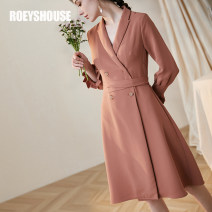Dress Spring 2020 Dirty orange S M L XL 2XL Mid length dress singleton  Nine point sleeve commute tailored collar middle-waisted Solid color double-breasted A-line skirt pagoda sleeve Others 30-34 years old Type A Roey s house Ol style Pleated lace up button LA01414 More than 95% other