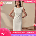 Dress Summer of 2019 S M L XL 2XL 3XL Mid length dress singleton  Sleeveless commute Crew neck middle-waisted Solid color Socket One pace skirt routine Others 30-34 years old Type H Roey s house Simplicity Zipper split 51% (inclusive) - 70% (inclusive) other cotton Pure e-commerce (online only)