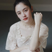 Dress Spring of 2019 Fog white frost flower spot S, M longuette square neck pagoda sleeve Molly and Fusu Lace