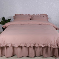 Bedding Set / four piece set / multi piece set cotton other Solid color 133x72 Leadproduct cotton 4 pieces 40 Four piece grey pink bed skirt, four piece light purple bed skirt, four piece pink bed skirt and four piece off white bed skirt Bed skirt First Grade Simplicity 100% cotton twill