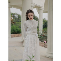 skirt Spring 2021 Average size white longuette Sweet High waist Princess Dress Solid color Type A 31% (inclusive) - 50% (inclusive) Lace To my love polyester fiber Three dimensional decoration, mesh, lace princess