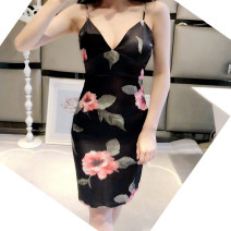 Dress Summer of 2018 Decor S,M,L Middle-skirt singleton  Sleeveless commute V-neck middle-waisted Decor One pace skirt Others 18-24 years old Type H Korean version 30% and below