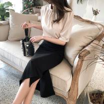skirt Spring 2021 XS,S,M,L,XL,2XL black Mid length dress Versatile High waist Little black dress Solid color Type A 51% (inclusive) - 70% (inclusive)