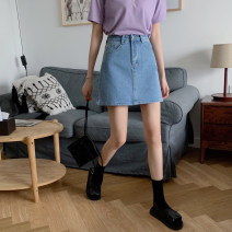 skirt Summer 2020 S,M,L,XL Light blue, dark blue, off white, black Short skirt commute High waist A-line skirt Solid color Type A 18-24 years old Korean version