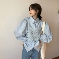 shirt Apricot, white, blue Average size Autumn 2020 cotton 96% and above Long sleeves commute Regular Single row multi button puff sleeve Solid color 18-24 years old Straight cylinder Korean version