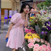 Dress Summer 2021 White, blue, pink Average size Middle-skirt singleton  Short sleeve commute square neck Solid color puff sleeve 18-24 years old Korean version 3832#